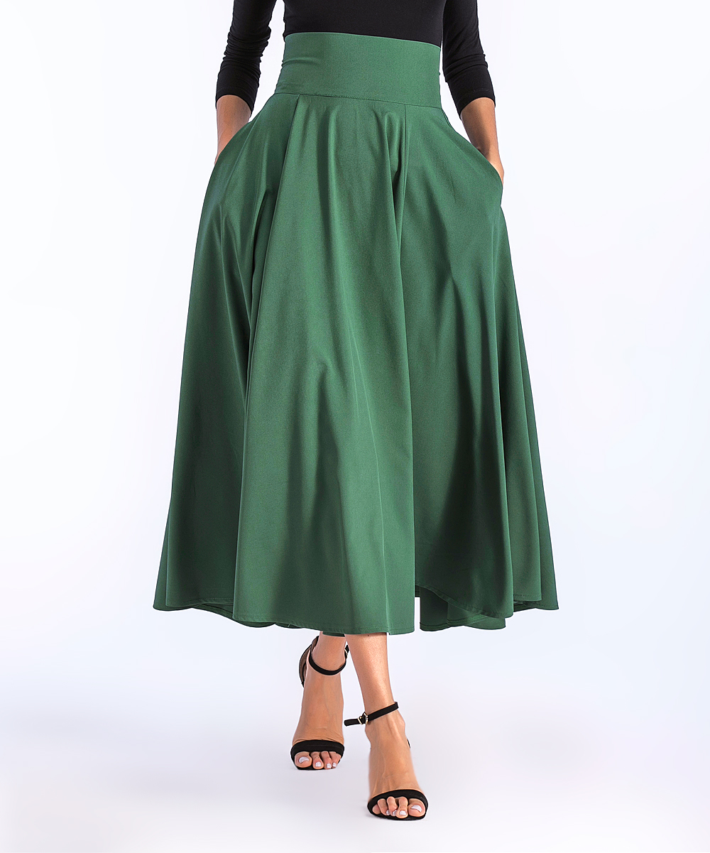 38a3f37e42ad ... Womens Green Green Pocket Pleated Midi Skirt - Alternate Image 2 ...