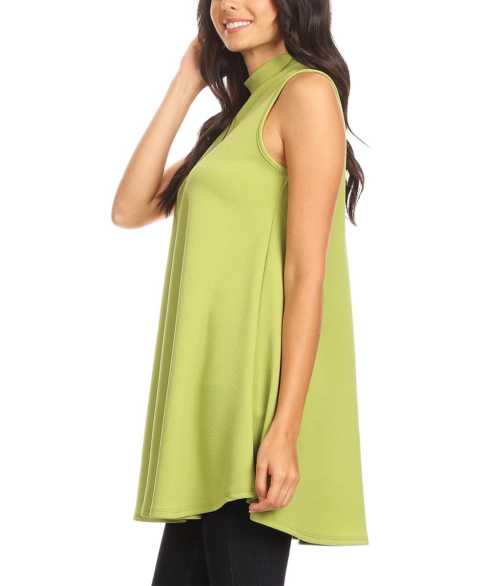 f1703ea740a ... Womens lime Lime Mock Neck Sleeveless Tunic - Alternate Image 2 ...