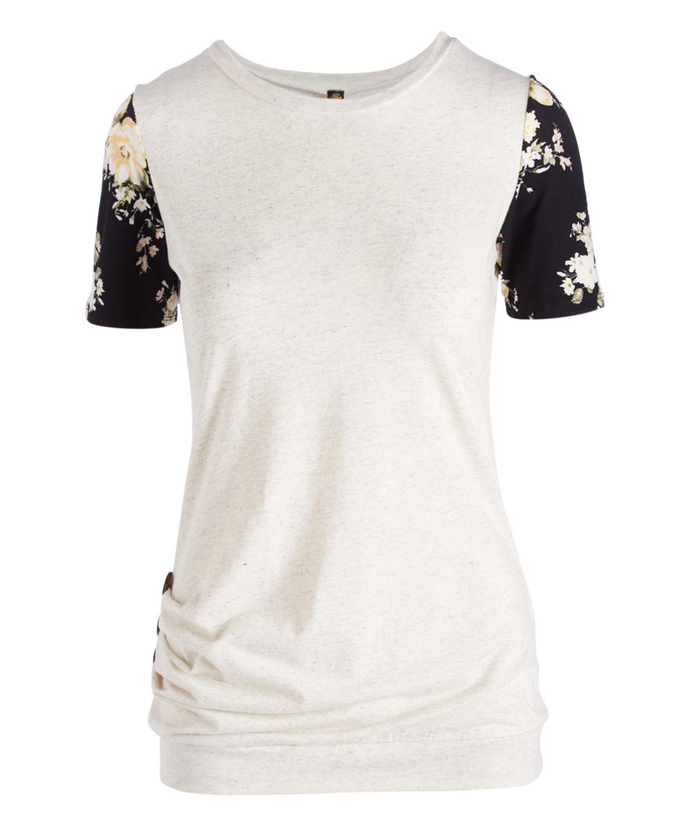8d9b4fb5b Casa Lee Cream & Black Floral-Sleeve Button-Accent Tee - Women | Zulily