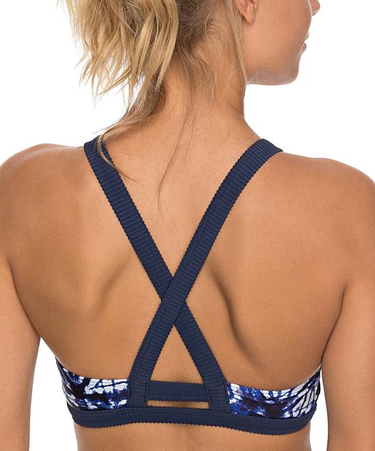 192a685b546c6 ... Womens Dress blues geometri Dress Blues Geometric Roxy Fitness Crop Bikini  Top - Alternate Image 2