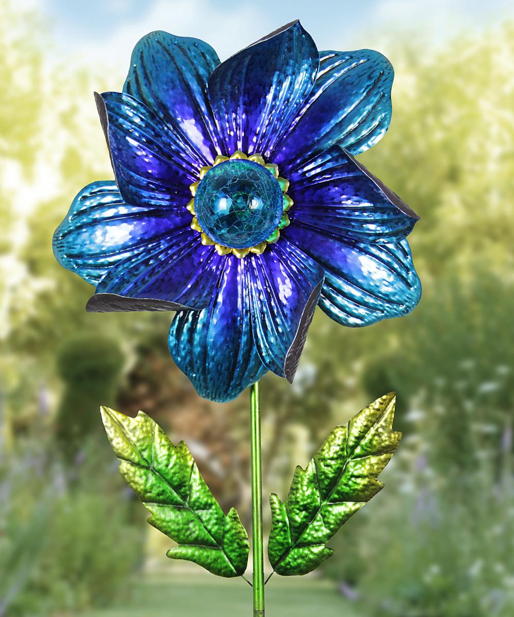 Indigo Solar Flower Garden Stake