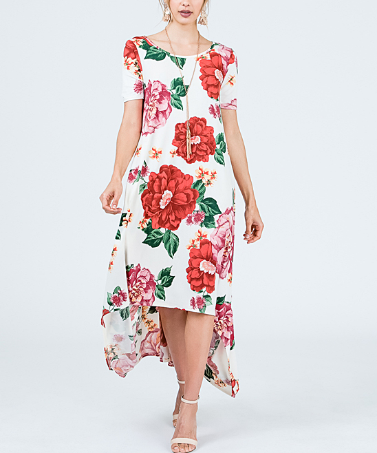 22 viewing. Ivory   Red Floral Hi-Low Dress - Women ... 0dabdffdde