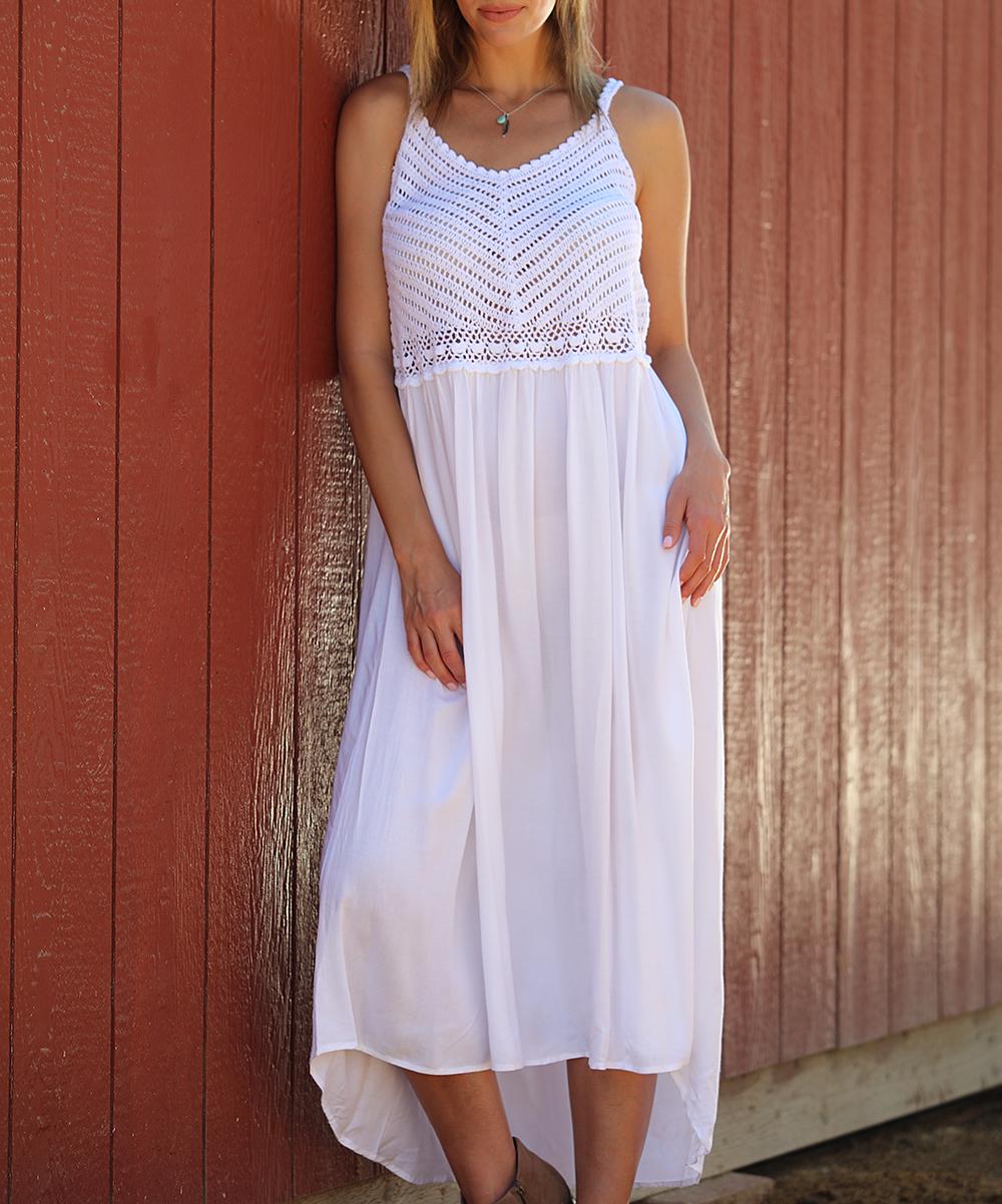 72f690cccb Anandas Collection White Lace-Detail Hi-Low Dress - Women