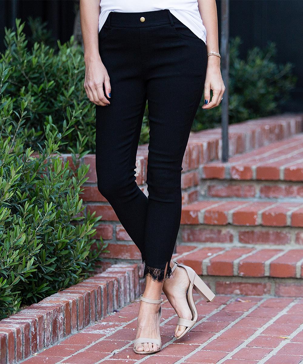 48997fe87d8e34 ... Womens Black Black Lace-Trim Jeggings - Alternate Image 3