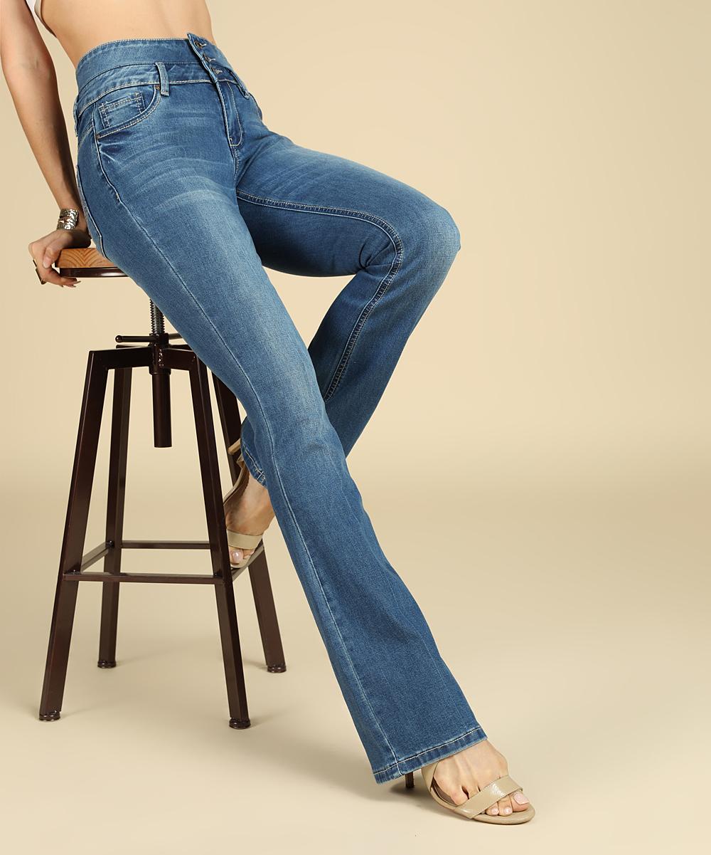 90ec524009bb Suzanne Betro Medium Dark Wash High-Waist Bootcut Victoria Jeans ...