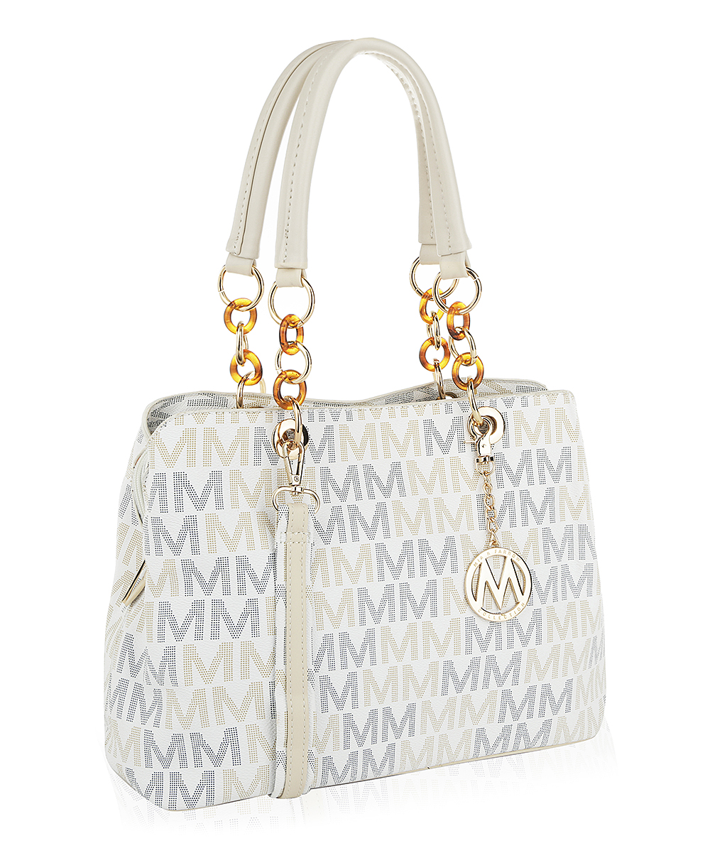 White & Gray Elisa M Signature Shoulder Bag