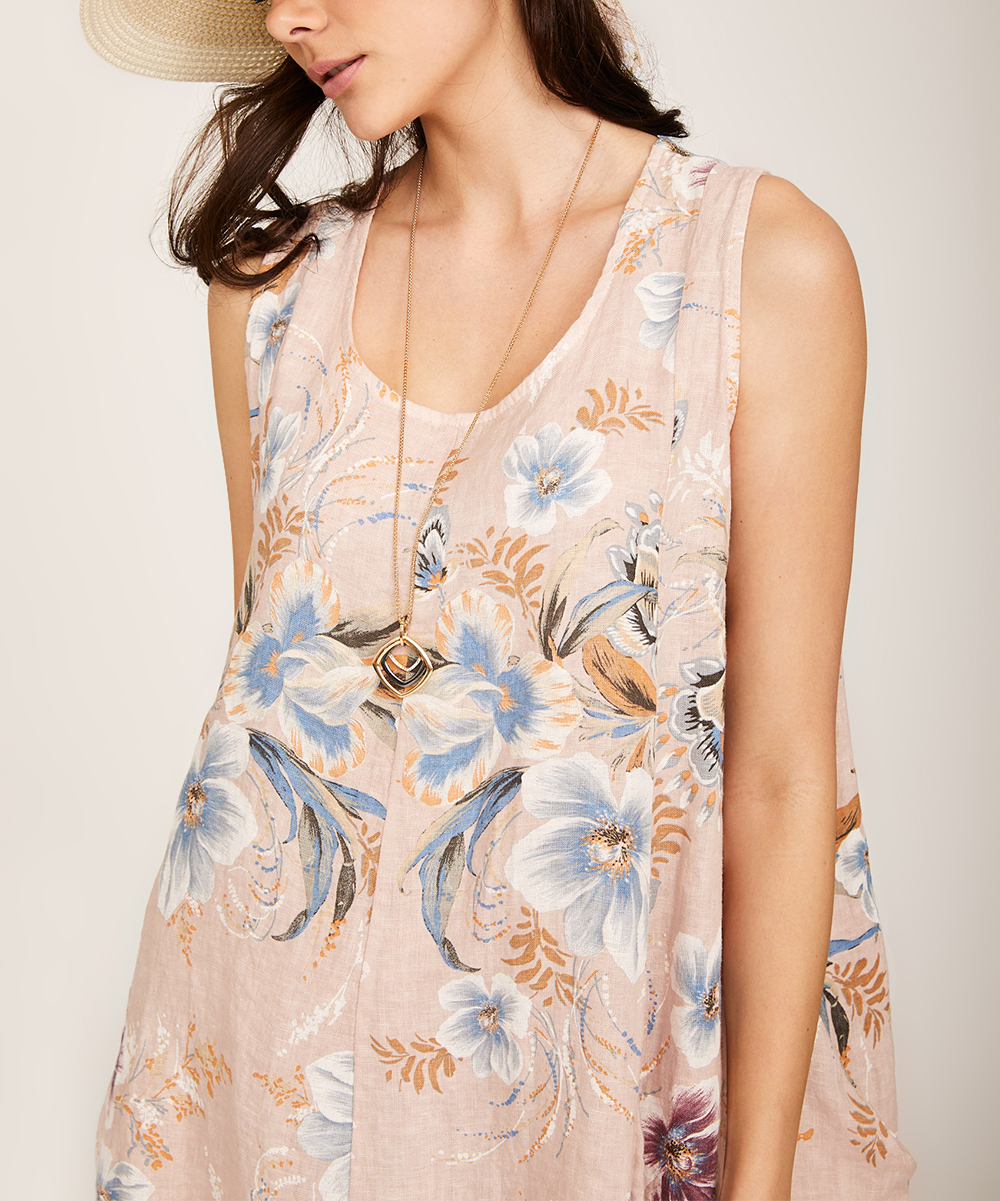 fac5b8d3f5d3 Ornella Paris Blush Floral Linen Sleeveless Dress - Women   Zulily