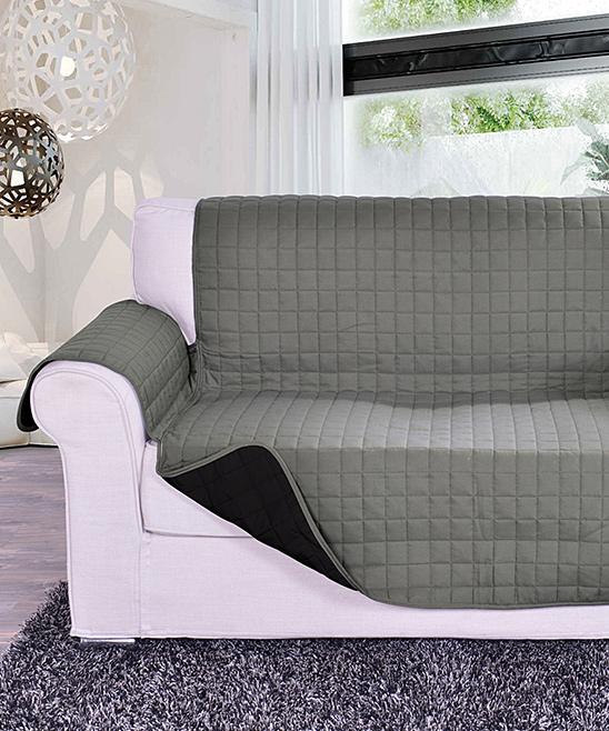 Elegance Linen  Indoor Furniture Covers Gray/Black - Gray & Black Reversible Furniture Protector