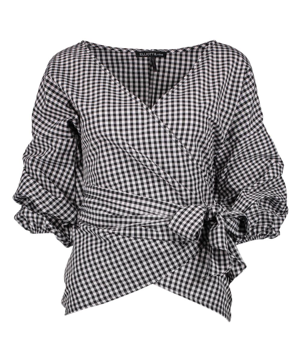57457b0d Black & White Gingham Bishop-Sleeve Wrap Top - Plus | Zulily
