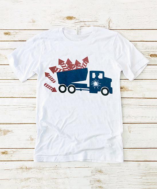 White & Blue Truck Tee - Kids