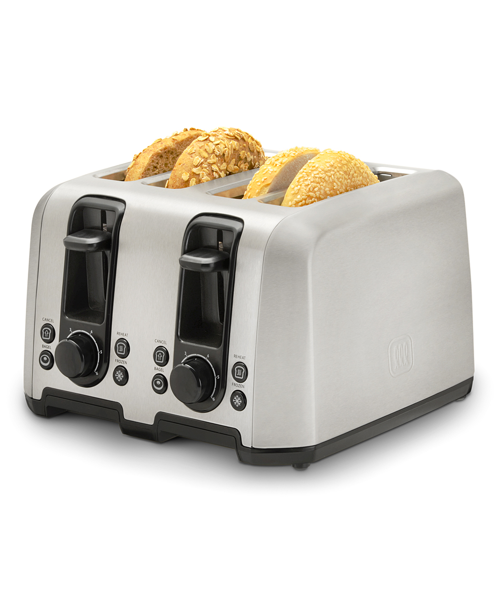 Toastmaster  Toaster Ovens  - Stainless Steel Four Slice Toaster Stainless Steel Four Slice Toaster. Keep up with the latest in culinary advancements and outfit your cooking space with this handy toaster oven equipped to hold up to four slices of bread.12.4'' W x 8.2'' H x 11.42'' DExtra wide slotsHigh rise toast liftSelf-centering bread guidesAdjustable browning controlRemovable crumb trayButton features: cancel, frozen, reheat and bagelWeight: 4.4lbImported