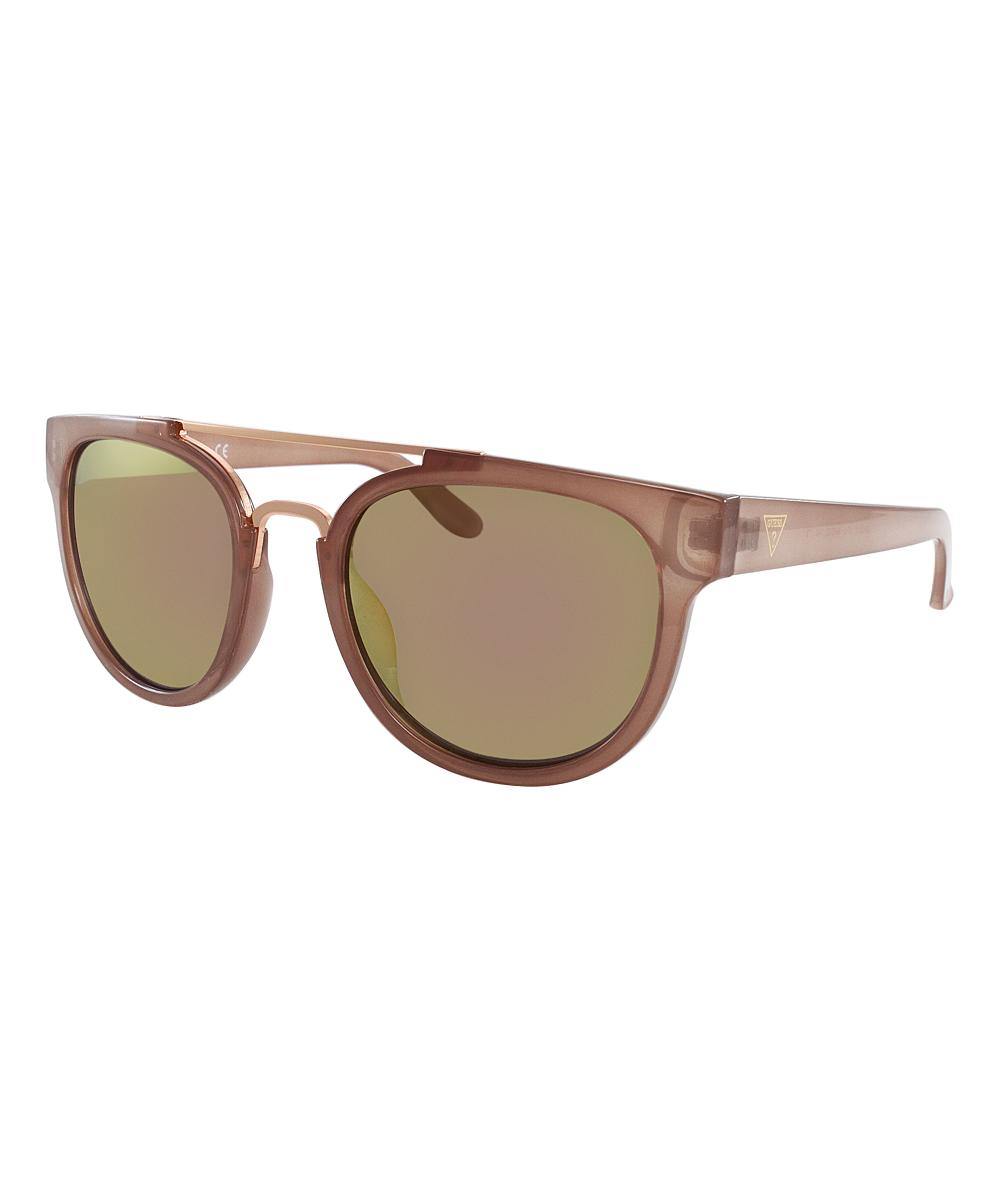 04057800b5 GUESS Bronze   Rose Mirror Modified Aviator Sunglasses - Women