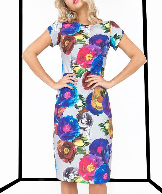 8e01ce24 ... Womens GREY MULTI Gray Floral Open-Back Sheath Dress - Alternate Image 2