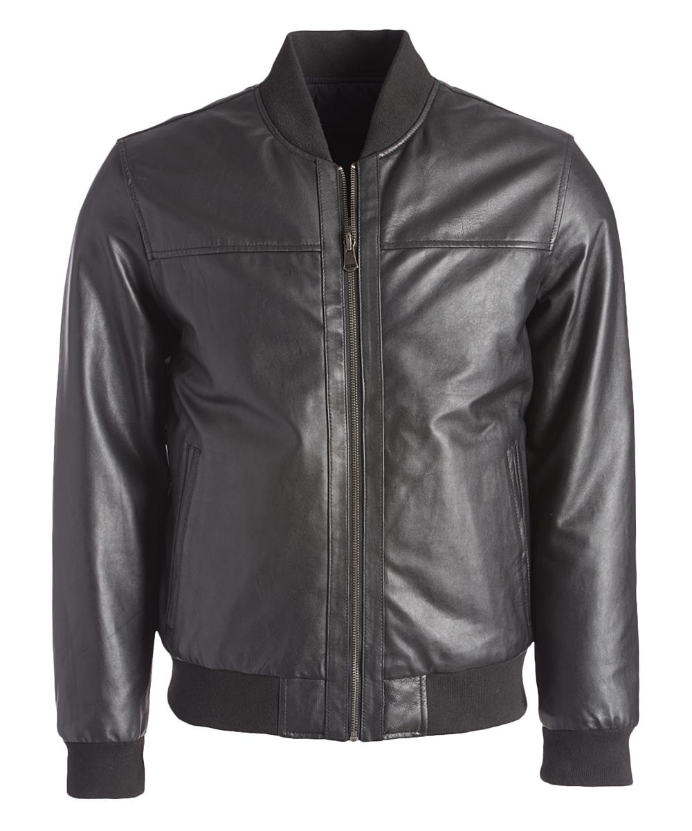 65d8ebfcd Cole Haan Black Leather Bomber Jacket - Men