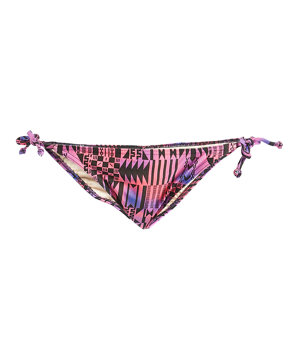 9f3c6bfcc3721 Oxygen Pink & Purple Geometric Side-Tie Bikini Bottoms - Women | Zulily