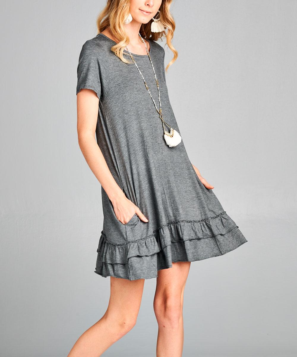 Shop Basic USA Women's Casual Dresses CHARCOAL - Charcoal Ruffle-Hem Shift Dress - Women & Plus