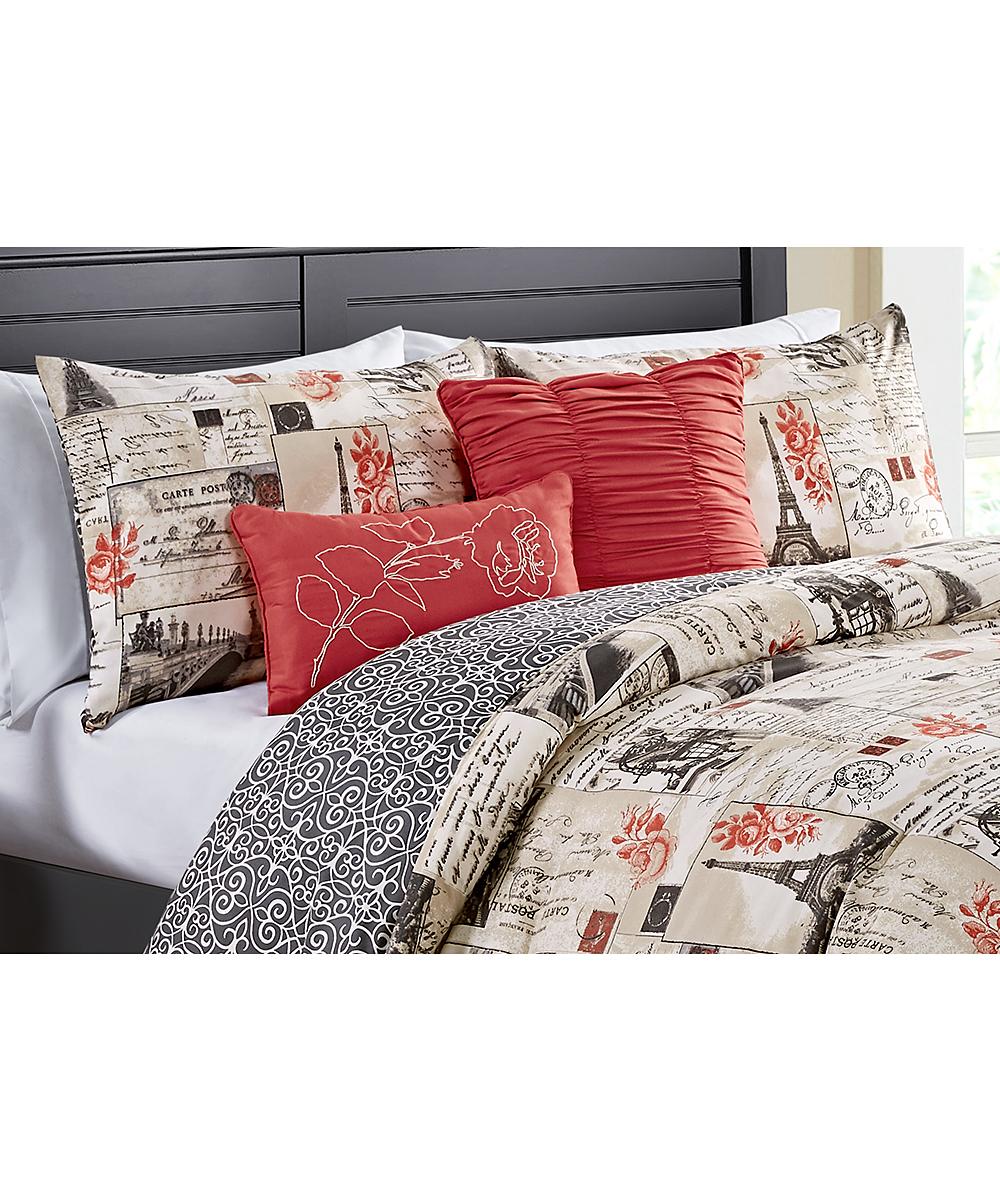 VCNY Home Jolie Paris 5 Piece Reversible Quilt Set King Red