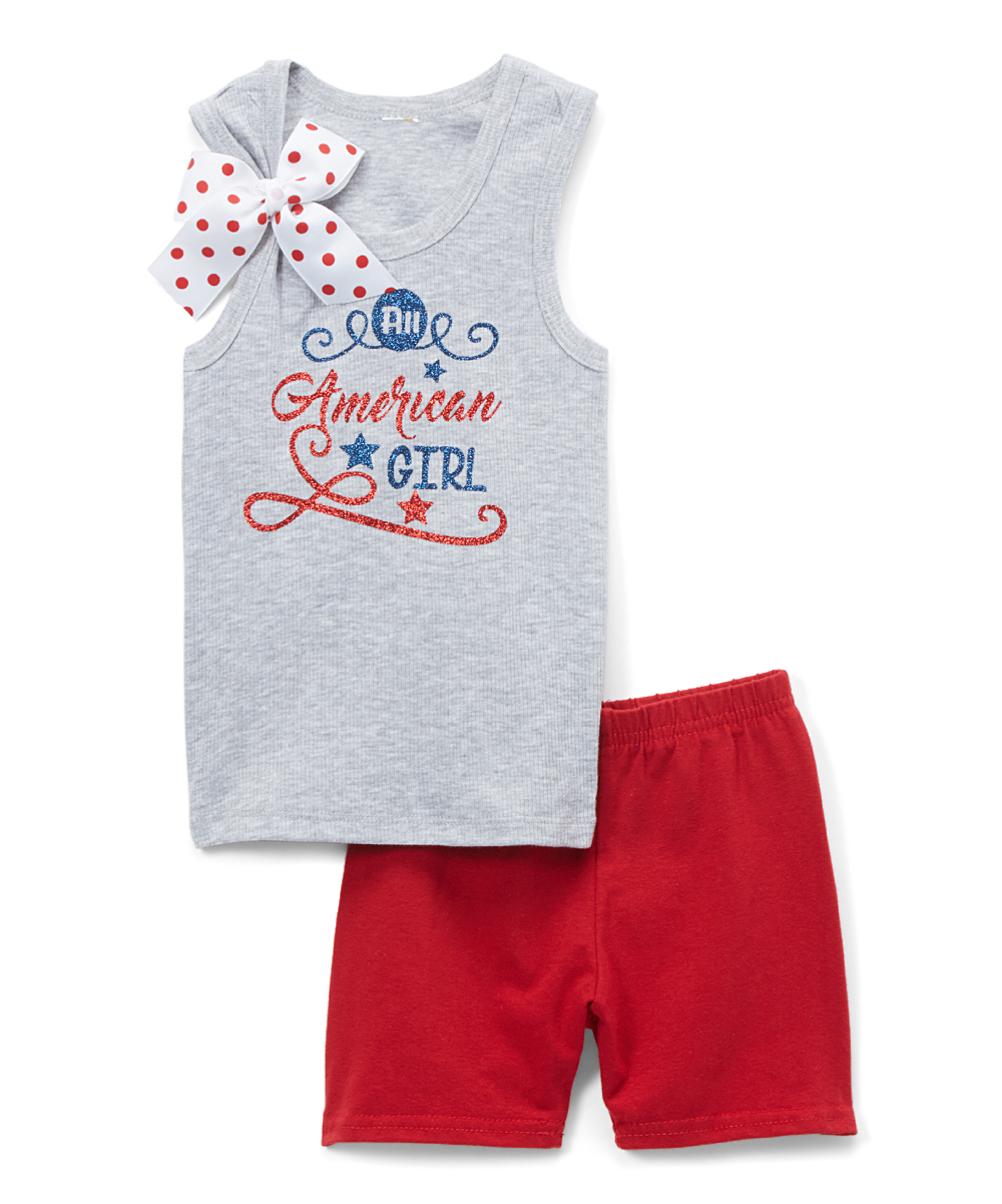 Gray 'All American Girl' Tank & Red Shorts - Toddler & Girls