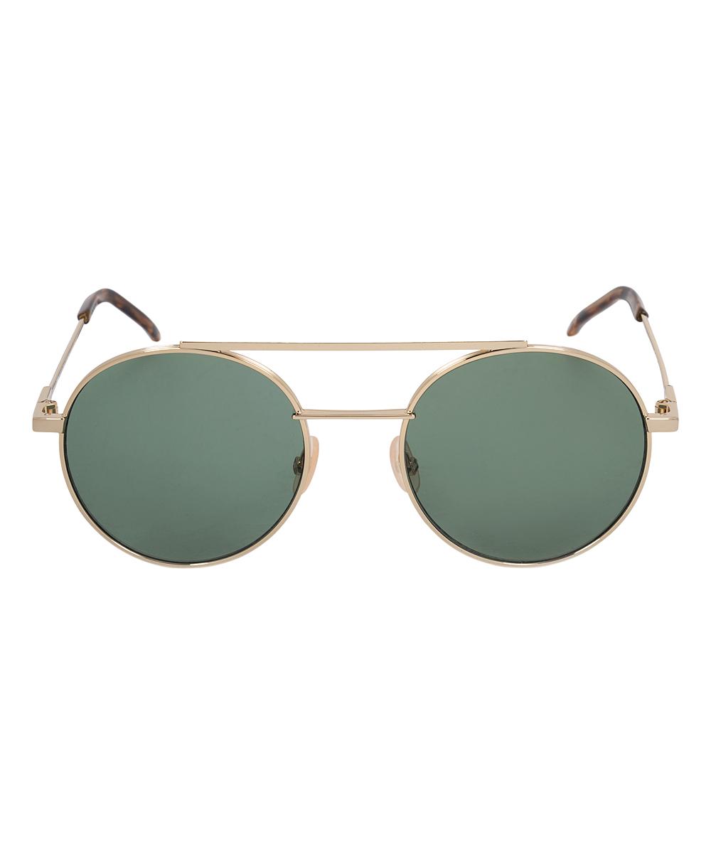 12d958ac391a ... Silver Silver   Green Round Modified Aviator Sunglasses - Alternate  Image ...