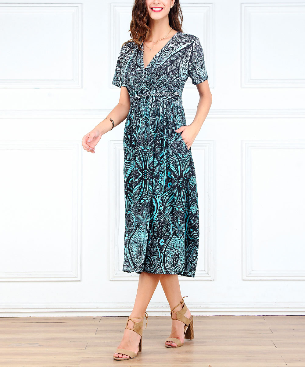 a677201a9932 love this product Turquoise   White Floral Faux Wrap Midi Dress - Women    Plus