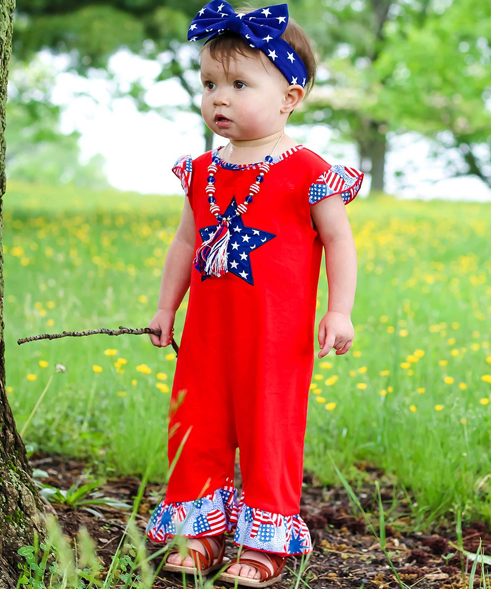6c30af0f780 all gone. Red   Blue Star Ruffle-Hem Romper - Infant · Girls Red
