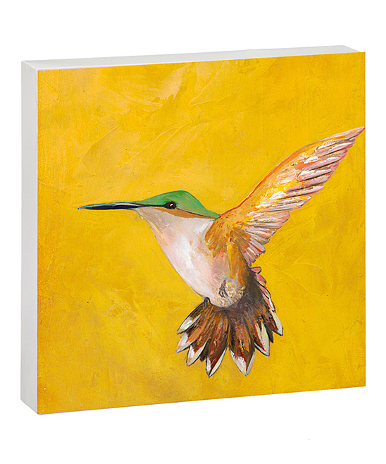 Yellow Sweet Hummingbird Metal Wall Art