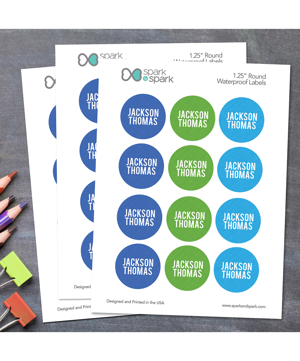 Spark Blue Green Waterproof Personalized Round Labels