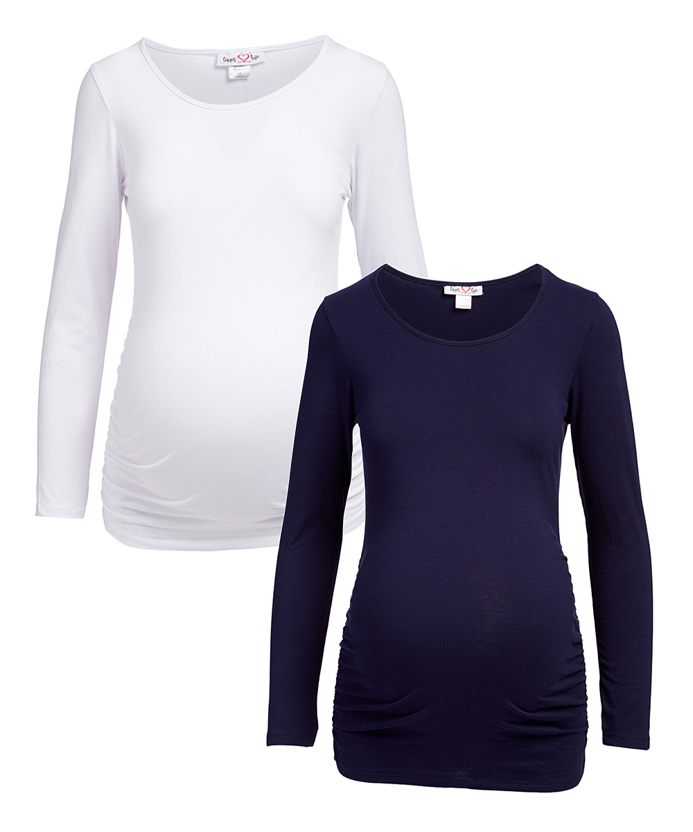 e7cbcbb37a0e9 Times 2 Navy & White Long-Sleeve Scoop Neck Maternity Top - Set of ...
