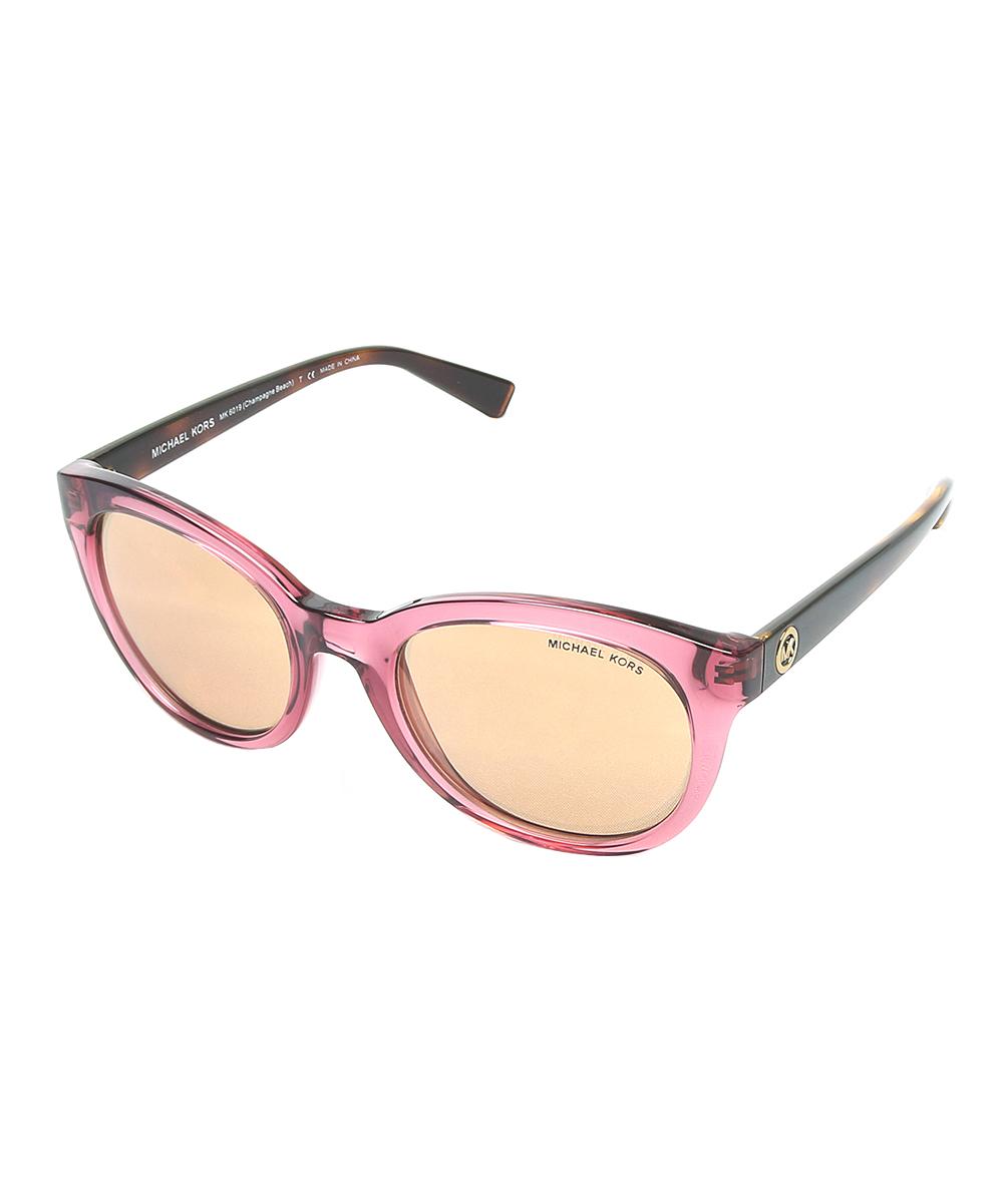 52394e8644a70 Michael Kors Pink Champagne Beach Cat-Eye Sunglasses