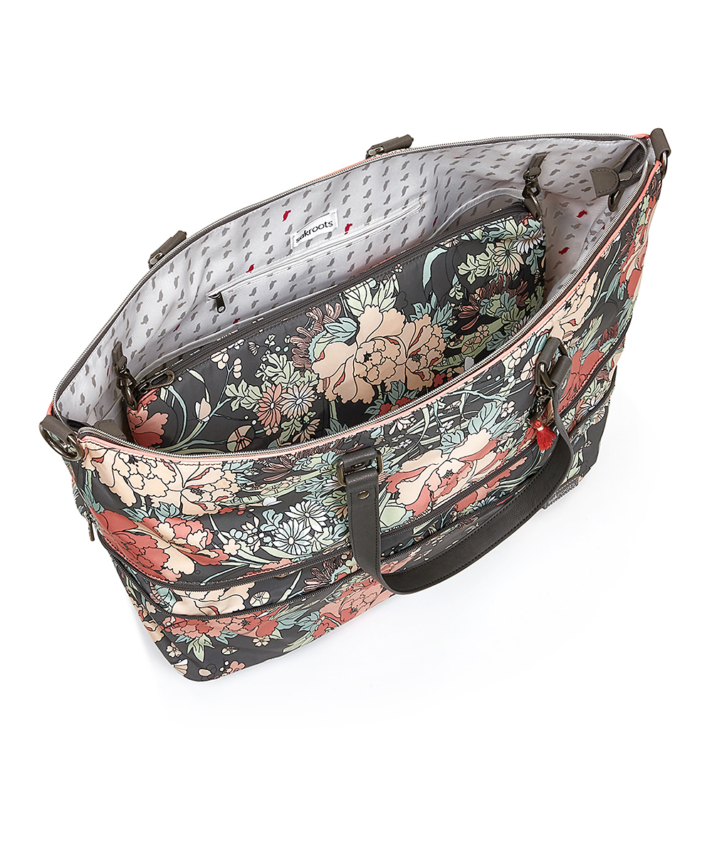 022c820e464b ... Womens CHARCL FP Charcoal Floral Artist Circle Duffel - Alternate Image  4 ...