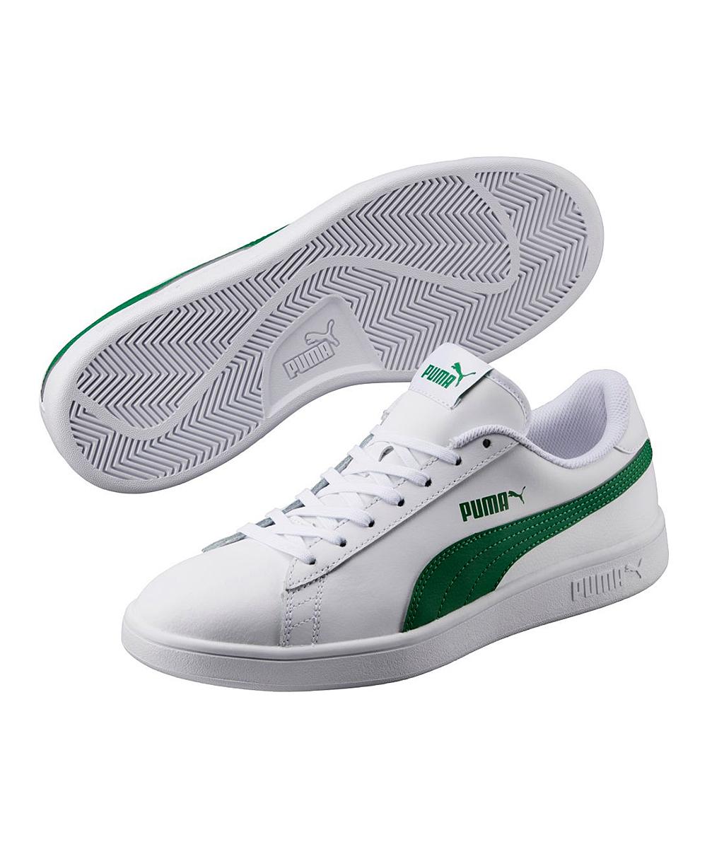 81f3594864215 PUMA White & Amazon Green Smash V2 L Suede Sneaker - Men
