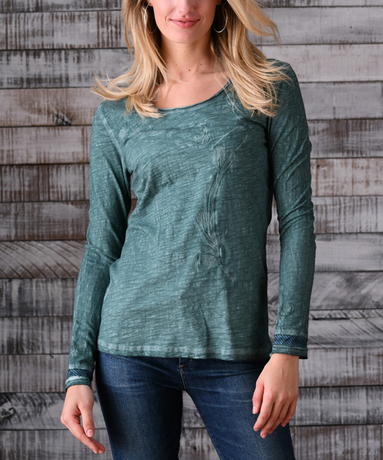 e2ff2bc474f PAPARAZZI Sea Green Sonoma Embroidered Long-Sleeve Top | Zulily