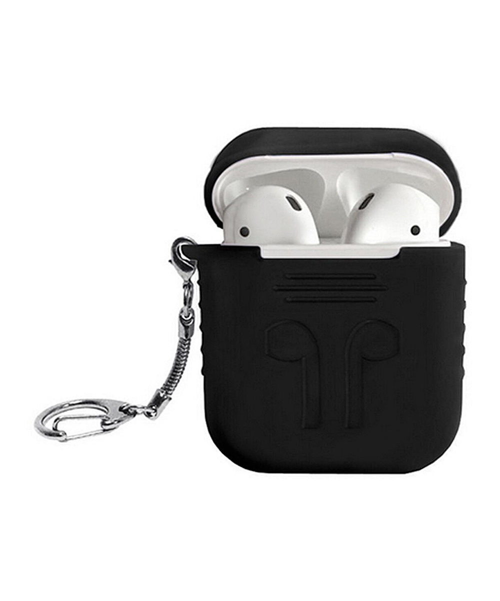 Black Silicone AirPod Carry Case Black Silicone AirPod Carry Case. Keep your AirPods secure and conveniently at your side with this carry case key chain that attaches to your keys, bags and more.AirPods not included5'' W x 5.25'' H x 2'' DSiliconeCompatible with Apple AirPods onlyImported