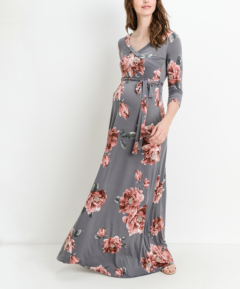 85302eb4cb0 ... Womens Gray Floral Tie-Waist Materntiy Nursing Maxi Dress - Alternate  Image 2 ...