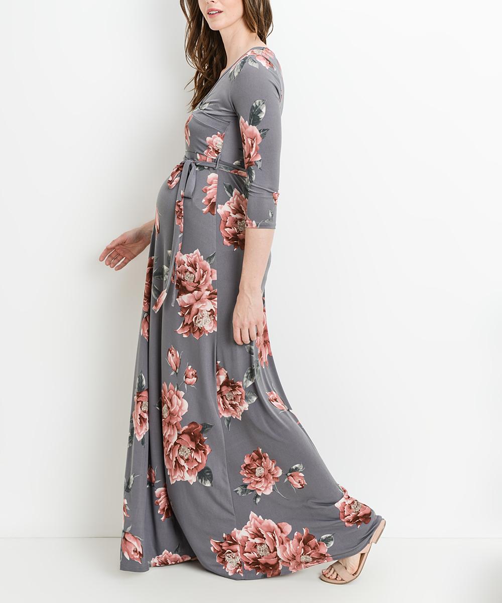 ac0741d077ac ... Womens Gray Floral Tie-Waist Materntiy/Nursing Maxi Dress - Alternate  Image 4 ...