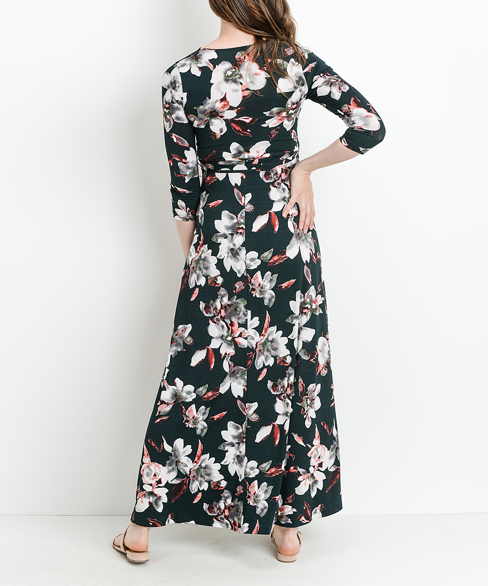 9a086ef295a72 ... Womens HUNTER GREEN Hunter Green Floral Maternity Maxi Dress -  Alternate Image 2