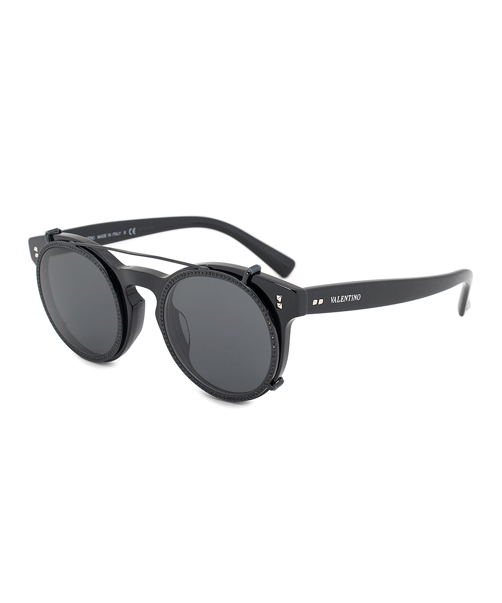 15681cb7bc02 Valentino Black Wire-Accent Round Sunglasses - Women | Zulily