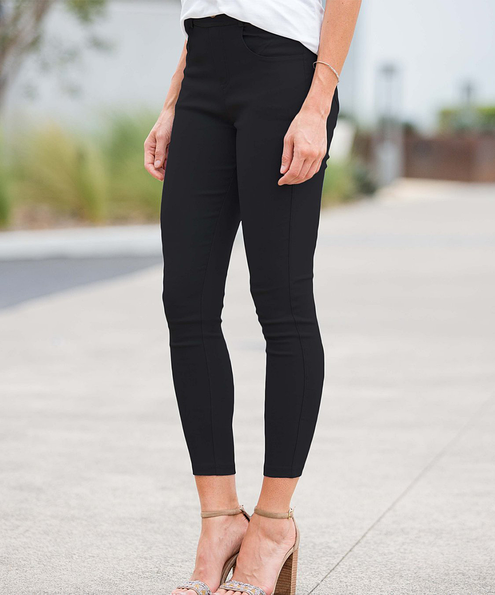 e5c7c11e5e7b7 ... Womens Black Black Crop Faux-Button Pocket Jeggings - Plus Too -  Alternate Image 3