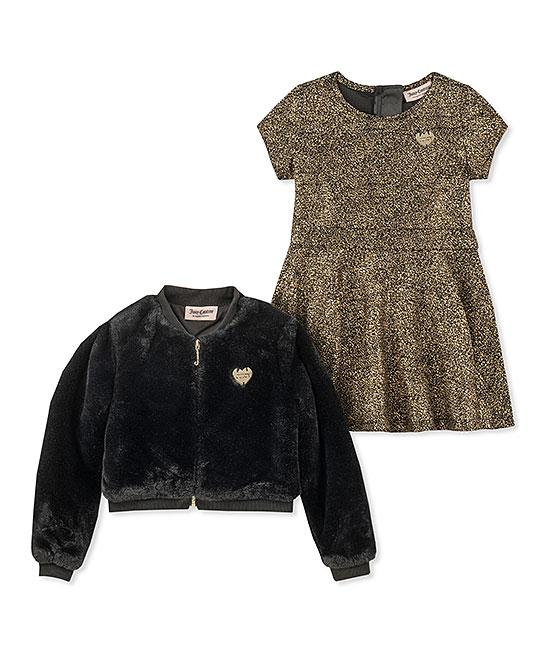 5bc6d4f5c Juicy Couture Black Plush Bomber Jacket Set - Toddler