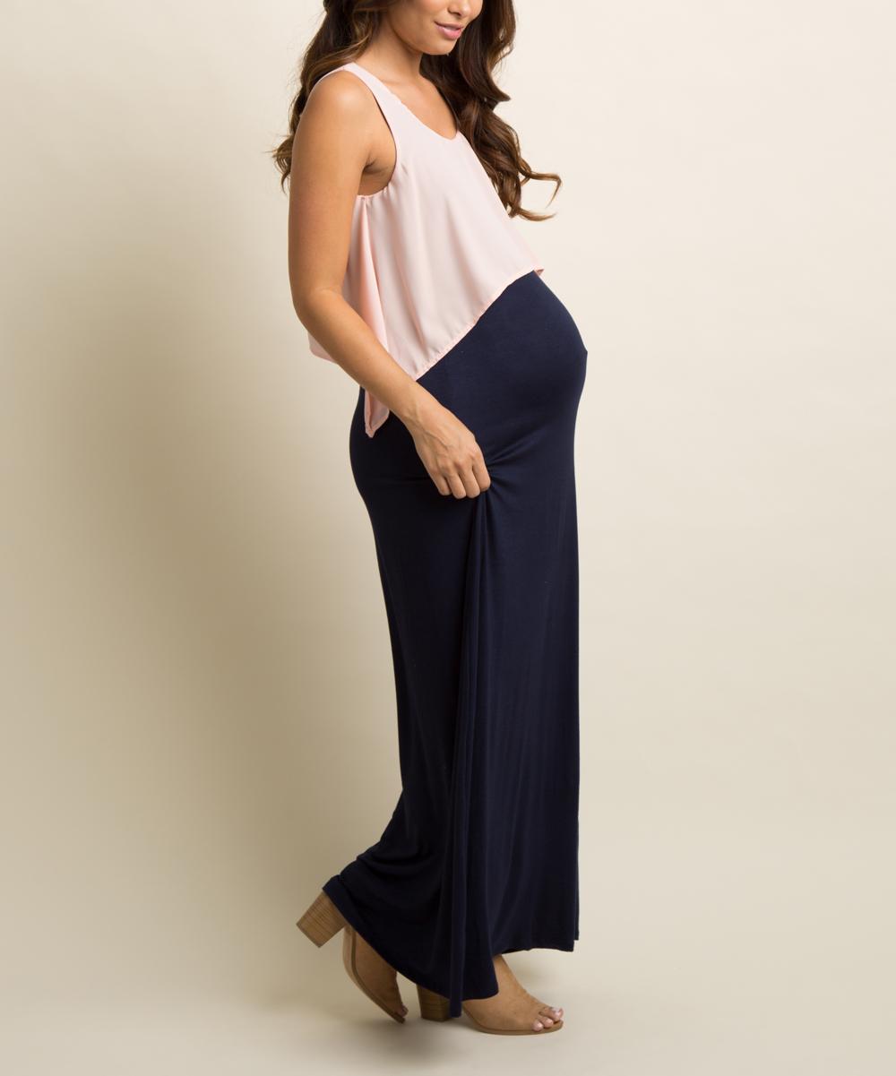 11bb317c9 ... Womens Pink PinkBlush Pale Pink & Navy Sidetail Maternity Maxi Dress -  Alternate Image 4