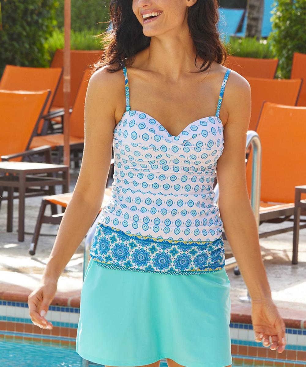 Cabana Life Women's Tankini Tops Hidden - Hidden Cove Convertible Tankini Top - Women