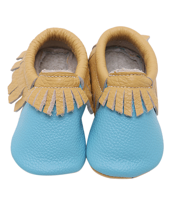 11f91a2f9a25e CJ Baby Blue & Brown Paw Print Leather Moccasin - Kids