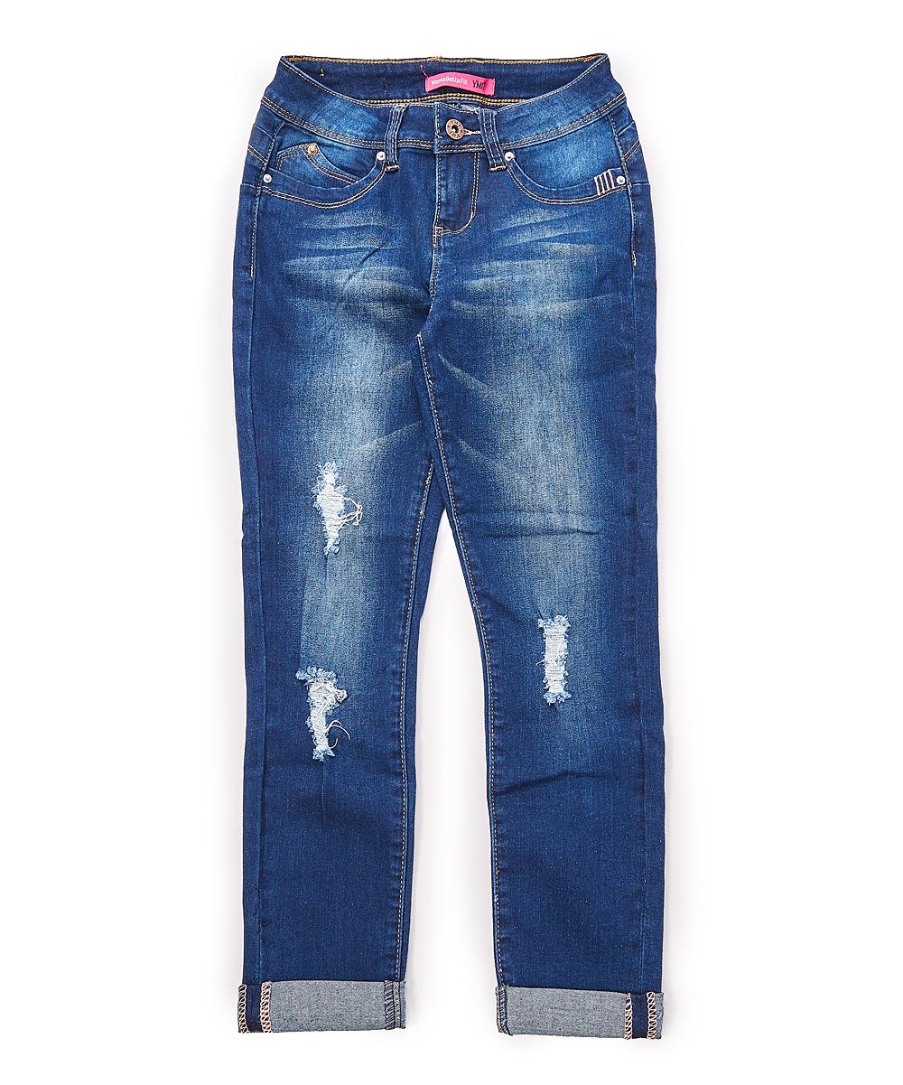 14595e73 YMI Jeans Dark Blue Roll-Cuff Distressed Jeans - Girls | Zulily