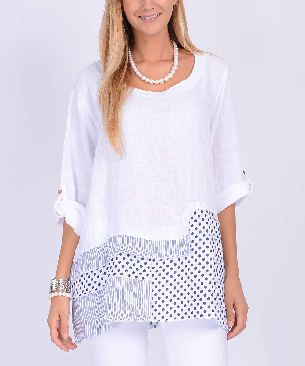 Ornella Paris White Polka Dot Contrast Linen Tunic Women Plus