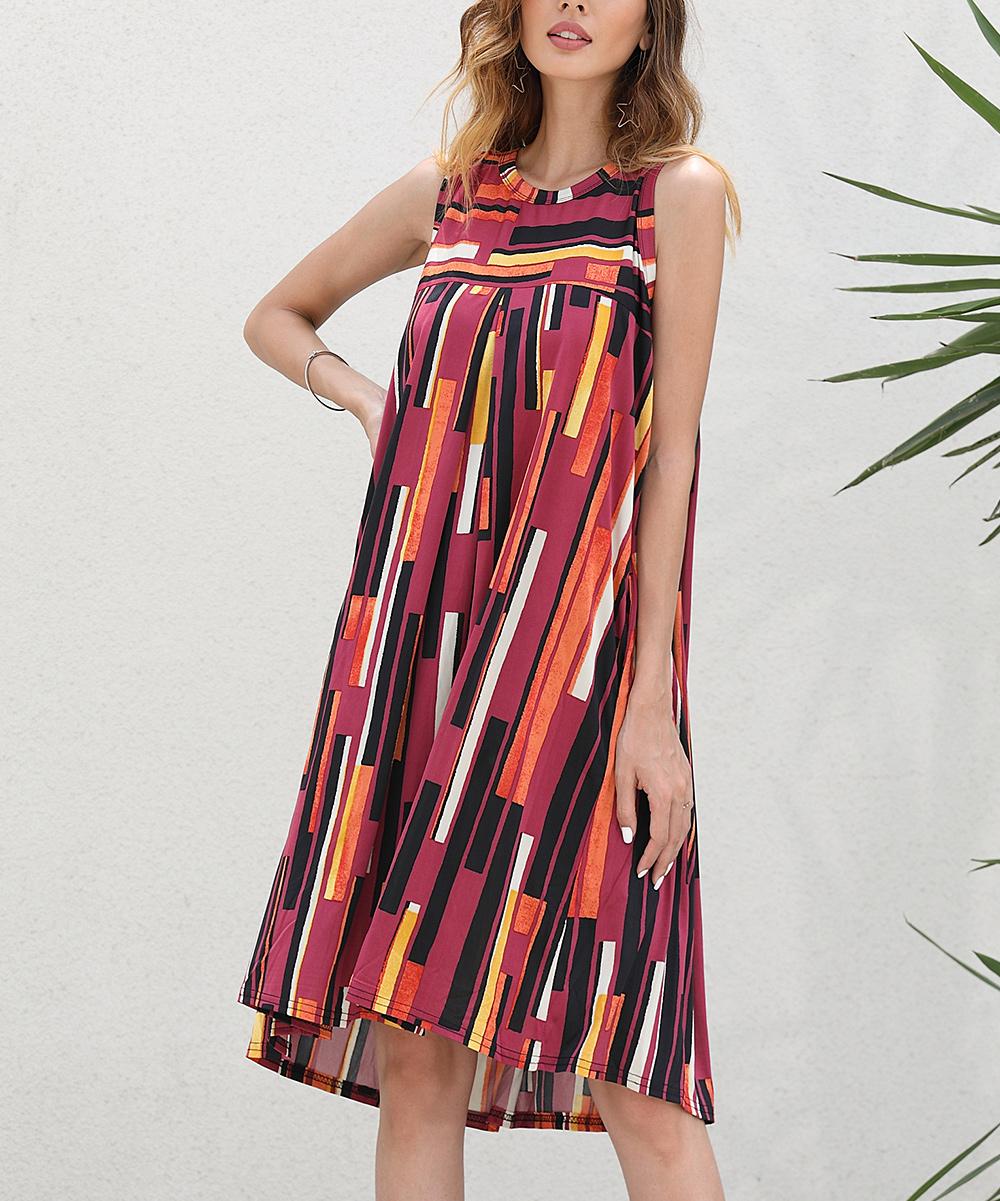 9f2db05c3d9b Z Avenue Burgundy Abstract Sleeveless Swing Dress - Women   Plus ...