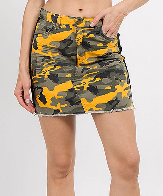 306a7b7be ... Womens Yellow/Black Yellow & Black Camo Side-Stripe Denim Pencil Skirt  - Alternate ...