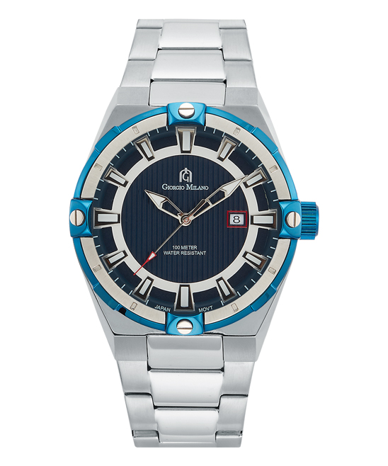 Blue & Stainless Steel Bracelet Watch - Men