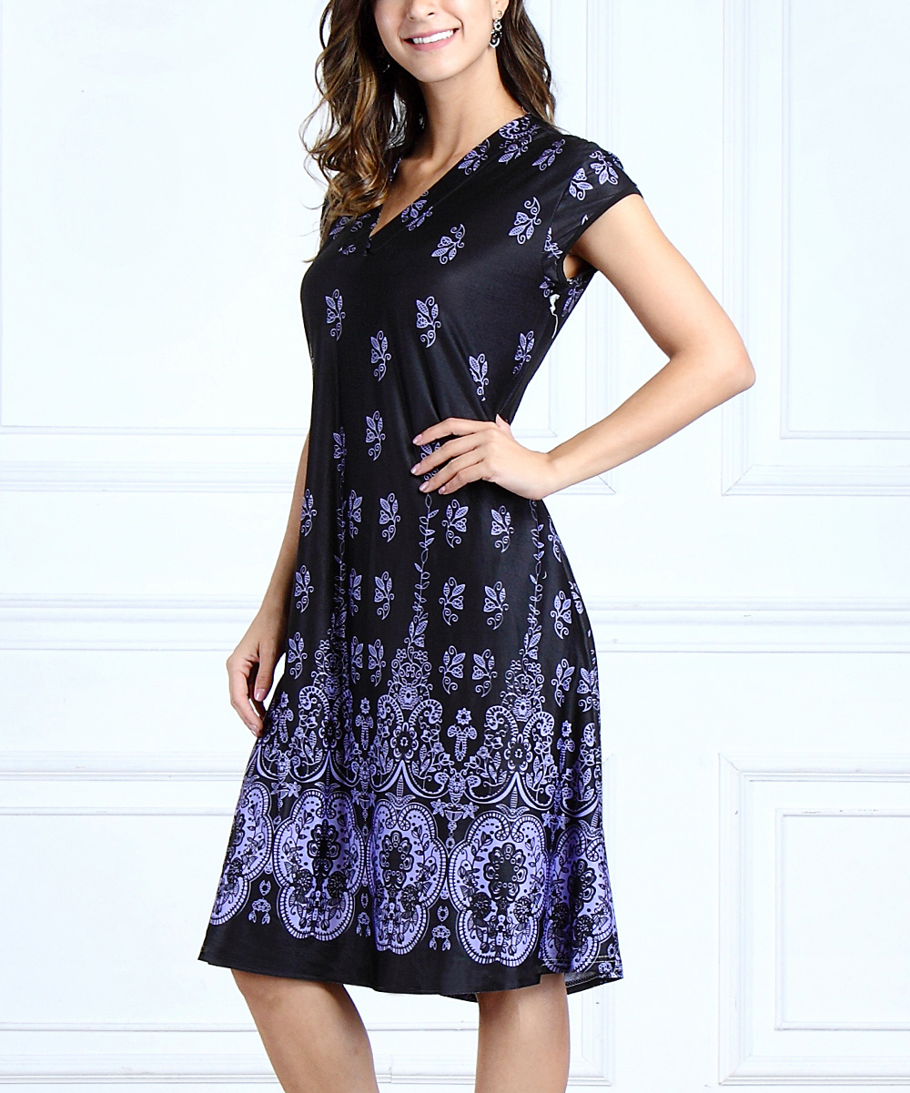 bebee501d66 ... Womens Purple Purple   Black Floral Border Short-Sleeve V-Neck Swing  Dress -