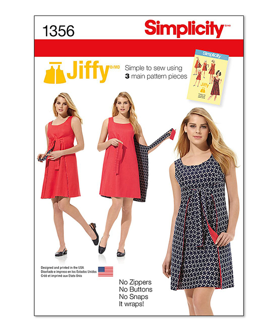 Simplicity Patterns 1356 Tie-Front Wrap & Shift Dress Sewing Pattern ...