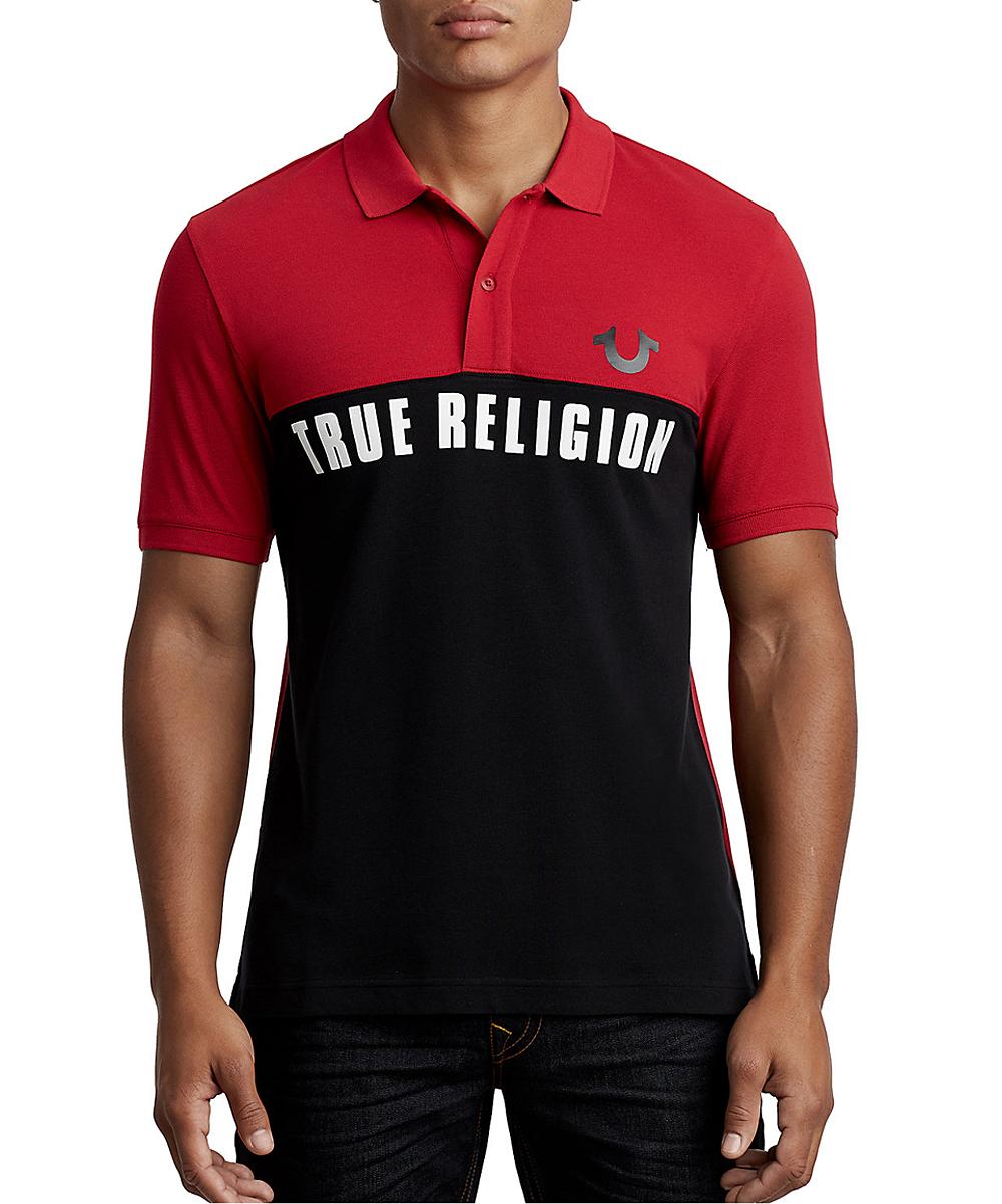 True Religion Black Ruby Red Sport Short Sleeve Football Polo
